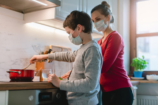 Family cooking at home during coronavirus crisis