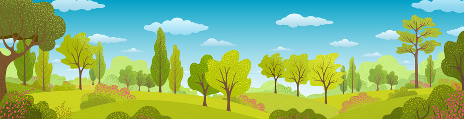 Summer trees, bush, grass, sky, clouds. Background with Green plants. Forest Landscape. Nature banner Fototapete