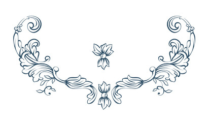 Floral decorative vector elements, rococo and baroque style