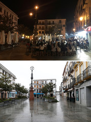 A combination photo shows people siting at the terrace of a bar in Ronda