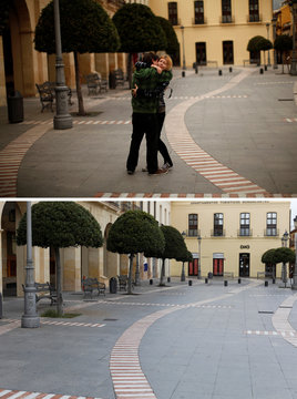 A combination photo shows a man embracing and kissing a woman in Ronda
