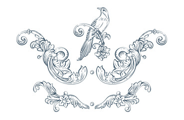 Floral decorative vector elements with bird, rococo and baroque style