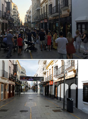 A combination photo shows people walking along La Bola street, and the street empty, in Ronda
