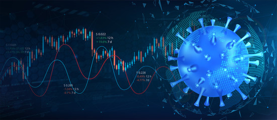 The collapse of the market and the stock exchange due to coronavirus. Covid-19 virus hits market. Markets plunging. Economic fallout. Shares fall down. Vector background Coronavirus and market.  - fototapety na wymiar