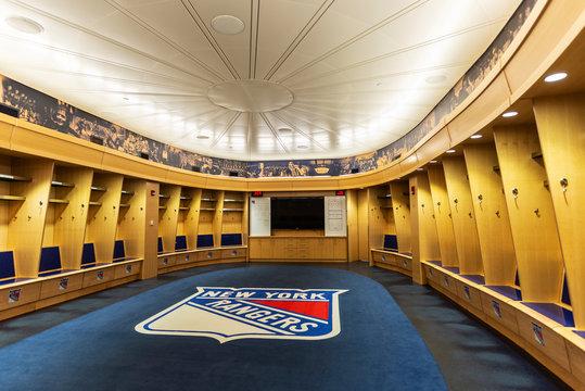 Rangers wardrobe in the Madison Square Garden in Manhattan, New York City, USA