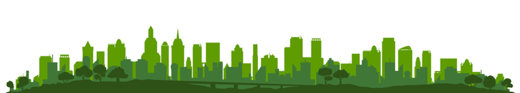 Green city silhouette, cityscapes - stock vector