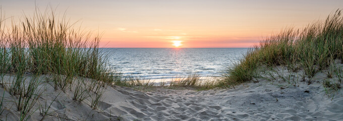Wall Mural - Panoramic view of a dune beach at sunset, North Sea, Germany