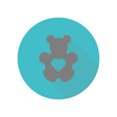 Teddy bear with heart long shadow icon. Simple glyph, flat vector of web icons for ui and ux, website or mobile application