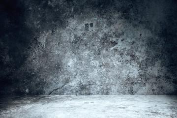 Fotorolgordijn Stenen Interior with empty black wall and concrete floor.