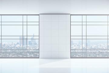 Minimalistic interior with blank wall