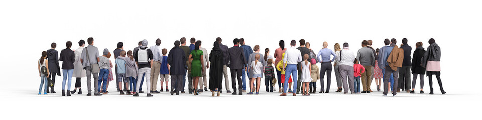 Crowd or queue rear view. Illustration on white background, 3d rendering isolated. Wall mural