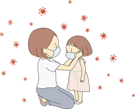 Vector illustration of family, mother and child wearing face mask during corona virus (covid-19) outbreak. Virus protection concept. Cartoon character drawing.