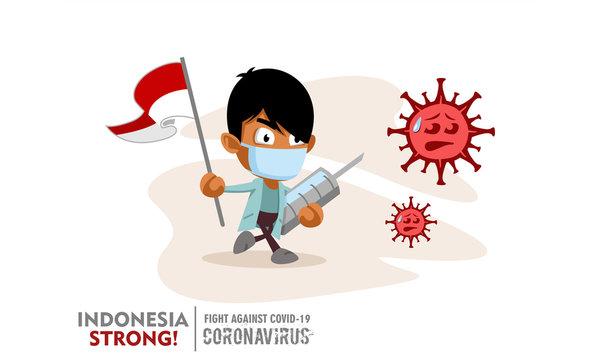Person holding nation flag and vaccine syringe fighting coronavirus pandemic or coronavirus outbreake 2019 COVID-19. Vector illustration against corona covid-19 virus. Scalable and editable vector.