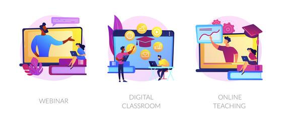 Wall Mural - Educational web seminar, internet classes, professional personal teacher service icons set. Webinar, digital classroom, online teaching metaphors. Vector isolated concept metaphor illustrations