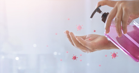 Woman washing hands with soap gel for avoid infections corona virus or covid-19 and prevention for stop spreading coronavirus.