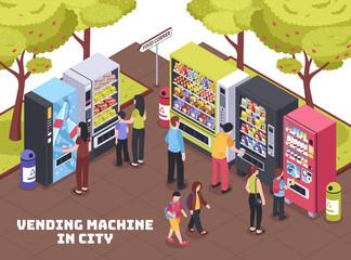 Vending Machines Isometric Composition