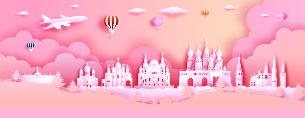 Wall Mural - Travel Russia top world famous castle ancient architecture and palace. Modern business brochure design on pink color background.Tour moscow landmark of europe with paper origami.Vector illustration.