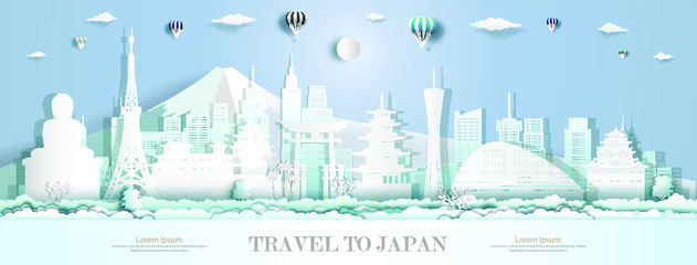 Fotomurales - Tourism to japan with modern architecture landmarks of asia and ancient architecture culture city and tourist, Travelling in Asia with paper cut origami style for travel poster, Vector illustration.