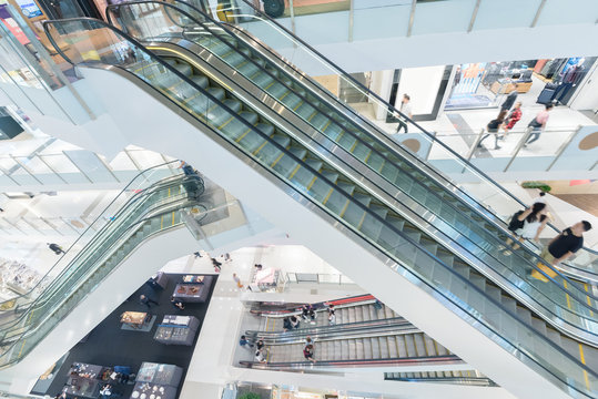 Interior view of escalator in shopping mall