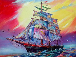 Tuinposter Schip Art Oil painting color Boat Sky wave sea