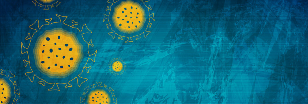 Abstract blue grunge background with COVID-19 coronavirus bacteria cells. Vector banner design