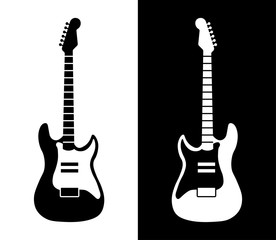 Acoustic musical rock guitar in a minimalistic black and white style. Web logo