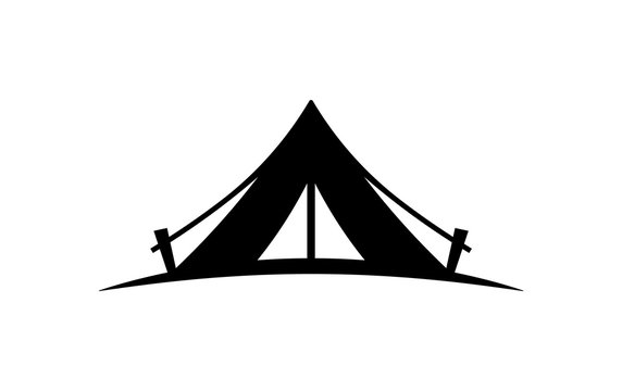 Camping tent vector icon on a white background.