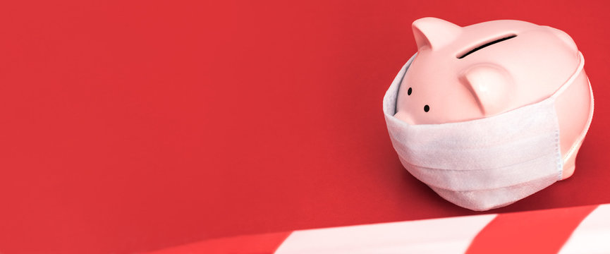 Banner. Pink Piggy Bank stands  on a  red background wearing medical face mask, the red and white ban tape is stretched,  left empty space for text.  Chinese Coronavirus , 2019-nCoV