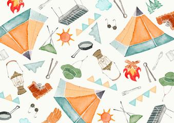アウトドア キャンプ 背景 テキスタイル 水彩 イラスト