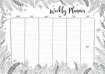 Weekly planner coloring page