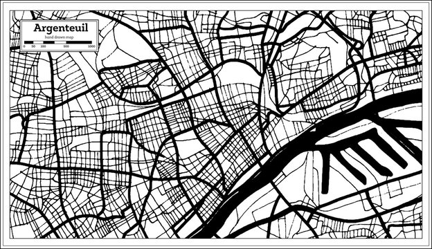 Argenteuil France City Map in Black and White Color in Retro Style. Outline Map.