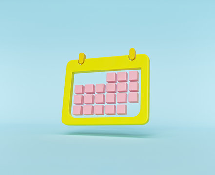 minimal Calendar icon isolated on pastel blue background. 3d rendering