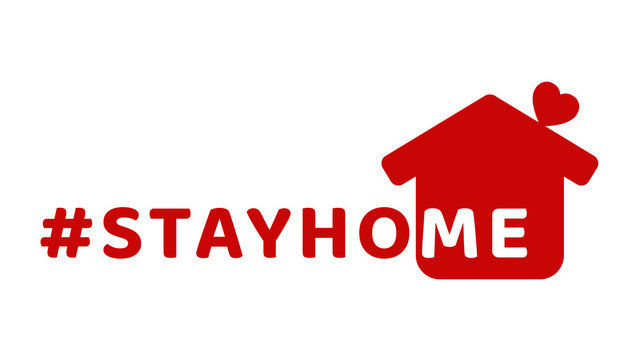 #stayhome - stay home hashtag with red house and mini heart. Let's stay home campaign icon for Prevention of Coronavirus or Covid-19.