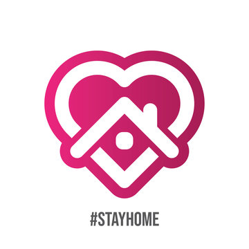 Stay at home symbol. Heart and house vector icon. Stayhome campaign for pandemic coronavirus outbreak prevention.