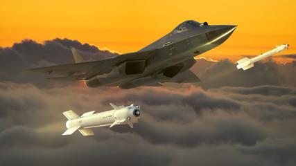 Russian fifth generation fighter SU-57-3d illustration.