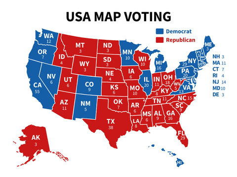 Usa map voting. Presidential election map each state american electoral votes showing republicans or democrats political vector infographic