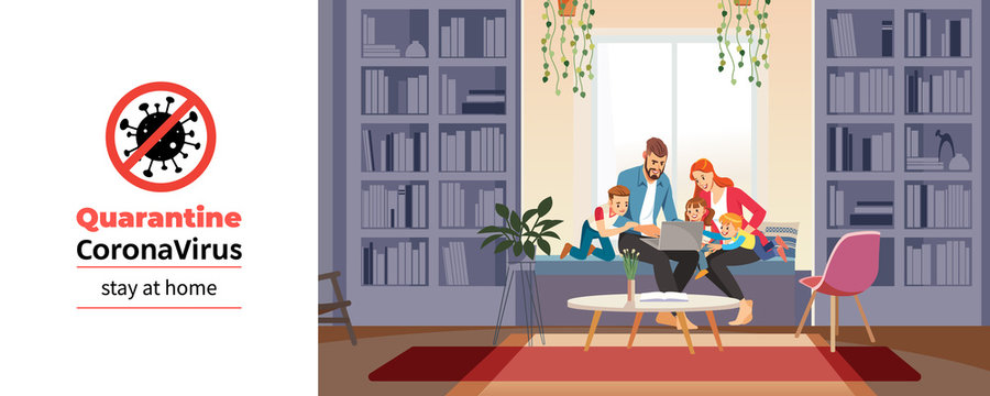 Coronavirus. Family at home with tutor or parent getting education at home during coronavirus self quarantine. Family conversation via video conference. Home schooling concept. Vector illustration.
