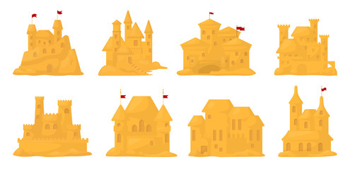 Sand castle vector cartoon set icon. Vector illustration sandcastle on white background. Isolated cartoon set icon fairy tower.
