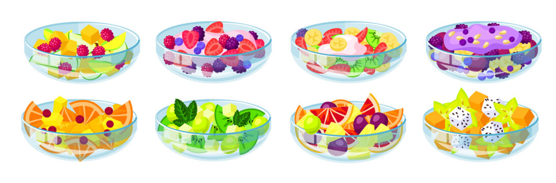Fruit salad isolated cartoon set icon. Bowl of vegetable food vector cartoon set icon. Vector illustration fruit salad on white background .