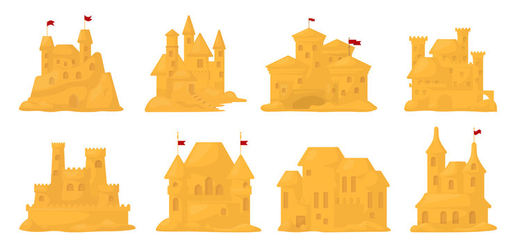 Sand castle vector cartoon set icon. Vector illustration sandcastle on white background. Isolated cartoon set icon fairy tower.