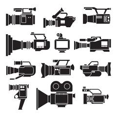 Fototapeta Video camera black vector illustration on white background .Video camera set icon. Vector illustration camcorder for photo and film. obraz