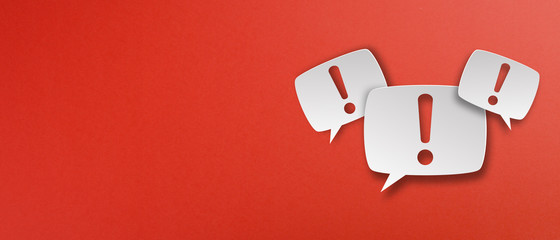 Fototapeta Exclamation mark with speech bubbles on red background obraz