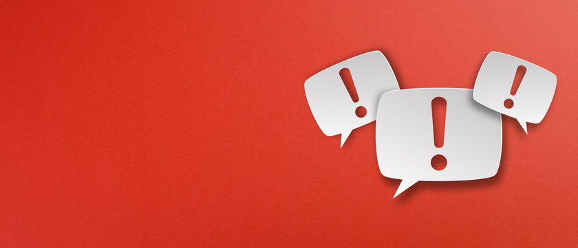 Exclamation mark with speech bubbles on red background