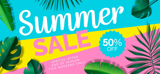 summer sale web  banner design with tropical leaves on geometric colorful background