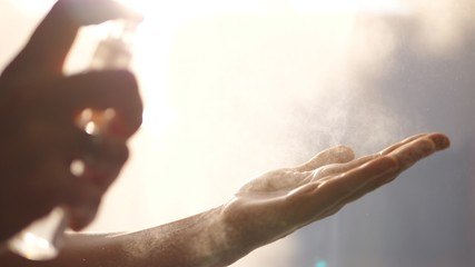 Female Hands Washing With Alcohol Sanitizer Spray To Eliminate Bacteria And Viruses. Fototapete
