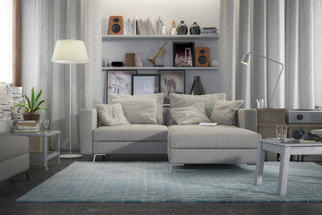 Fototapeta Contemporary and comfortable - 3d visualization of an apartment obraz