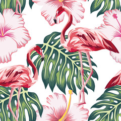 Wall Mural - Flamingo green leaves pink hibiscus white background seamless