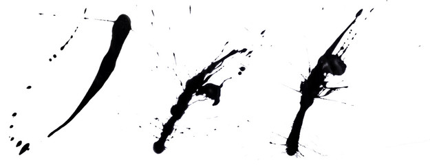 abstract artistic ink black of stain or splash black watercolor paint and liquid Ink splash splatter is  black line  calligraphy of brush stroke isolated on white background with clipping path