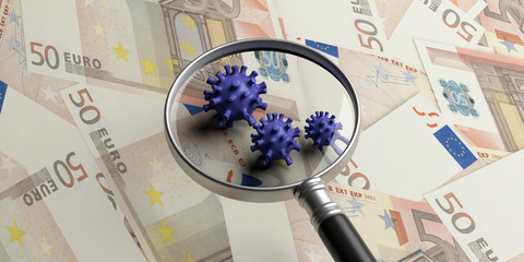COVID19 Coronavirus infection, medical magnifier on euro banknotes background. 3d illustration