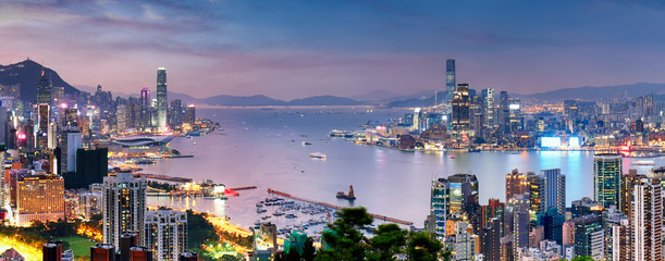 Papiers peints Hong-Kong Hong Kong skyline at night, China - Asia